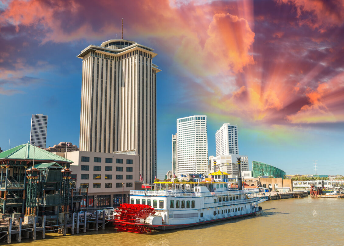 Steamboat on Mississippi river, New Orleans